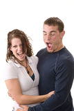 Jeunes couples étant idiots Photos stock