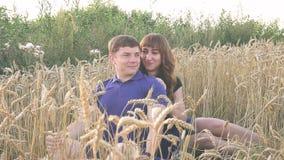 Jeunes couples affectueux en nature en été sur un fond de champ avec l'avoine clips vidéos