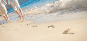 Jeunes couples affectueux marchant par la plage tropicale Image libre de droits