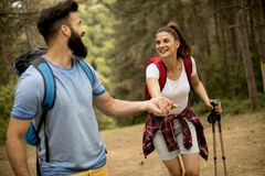 Jeunes couples appréciant la hausse en nature photos libres de droits