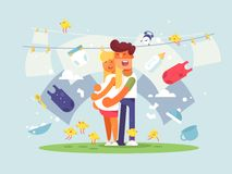 Jeunes couples attendant une chéri illustration libre de droits