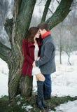 Jeunes couples attrayants dans l'amour sur la rue près d'un arbre Photographie stock libre de droits