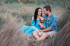 Jeunes couples attrayants heureux posant avec leur chien - terrier de Yorkshire sur la nature Images libres de droits