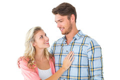 Jeunes couples attrayants souriant à l'un l'autre Photographie stock