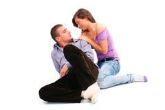 Jeunes couples au-dessus de blanc Photos libres de droits