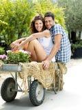 Jeunes couples ayant l'amusement dans une serre chaude photos stock
