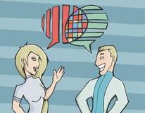 Jeunes couples ayant une conversation Images libres de droits