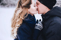 Jeunes couples ayant une promenade dans la campagne neigeuse Photos libres de droits