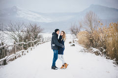 Jeunes couples ayant une promenade dans la campagne neigeuse Photo libre de droits