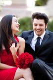 Jeunes couples beaux heureux Photo libre de droits