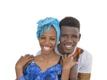Jeunes couples d'Afro montrant l'amour et l'affection, d'isolement Photographie stock