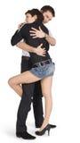 Jeunes couples dans l'amour au-dessus du blanc Image stock