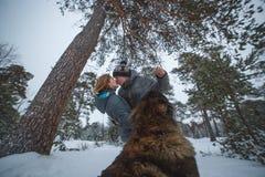 Jeunes couples dans l'amour avec le chien marchant dans la forêt et les baisers neigeux de pin Photo libre de droits