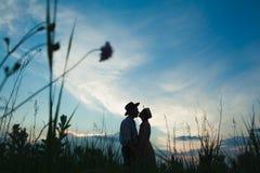 Jeunes couples dans l'amour dans le pré Photographie stock