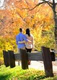 Jeunes couples dans l'amour dans un arrangement d'automne Photos stock
