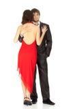 Jeunes couples dans l'amour dans une robe de soirée Images libres de droits