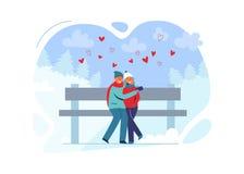 Jeunes couples dans l'amour dans des vêtements d'hiver sur le paysage de Milou Homme et femme heureux ensemble en parc avec des a illustration de vecteur