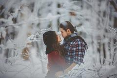 Jeunes couples dans l'amour embrassant dans la forêt d'hiver Image libre de droits