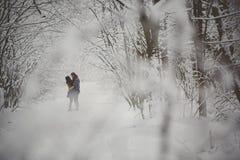 Jeunes couples dans l'amour embrassant dans la forêt d'hiver Images stock