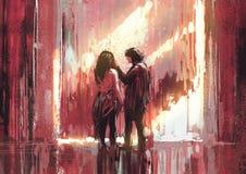 Jeunes couples dans l'amour extérieur, illustration illustration stock