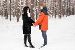 Jeunes couples dans l'amour jugeant des mains extérieures en hiver Images stock