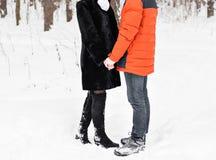 Jeunes couples dans l'amour jugeant des mains extérieures en hiver Photographie stock