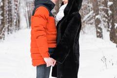 Jeunes couples dans l'amour jugeant des mains extérieures en hiver Images libres de droits