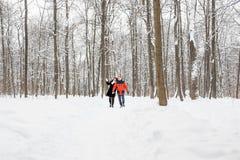 Jeunes couples dans l'amour jugeant des mains extérieures en hiver Photographie stock libre de droits