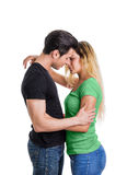 Jeunes couples dans l'amour, projectile de studio Photo libre de droits