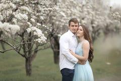 Jeunes couples dans l'amour se reposant dans le jardin de floraison arbres de floraison de blanc image libre de droits