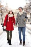 Jeunes couples dans la configuration de l'hiver Photo stock
