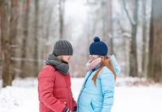 Jeunes couples dans le bois d'hiver Leurs yeux sont cachés sous des chapeaux Image libre de droits