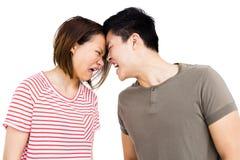 Jeunes couples dans un argument photographie stock libre de droits