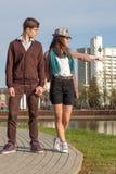 Jeunes couples de hippie de mode dans l'amour Photo libre de droits