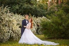 Jeunes couples de jeunes mariés dans un jardin de floraison Images stock