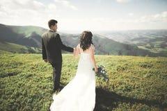 Jeunes couples de mariage dans l'amour tenant des mains sur le fond des montagnes Images stock