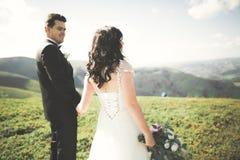 Jeunes couples de mariage dans l'amour tenant des mains sur le fond des montagnes Images libres de droits