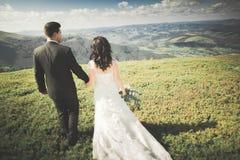 Jeunes couples de mariage dans l'amour tenant des mains sur le fond des montagnes Image stock
