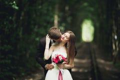 Jeunes couples de mariage, jeunes mariés posant sur une voie de chemin de fer Photographie stock