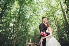 Jeunes couples de mariage, jeunes mariés posant sur une voie de chemin de fer Image stock
