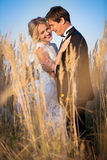 Jeunes couples de mariage se tenant dans un domaine de pigweed dans le setti Photos stock