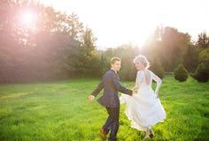 Jeunes couples de mariage sur le pré d'été Image stock