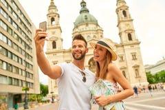Jeunes couples de touristes Photographie stock
