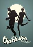 Jeunes couples drôles dansant Charleston illustration libre de droits
