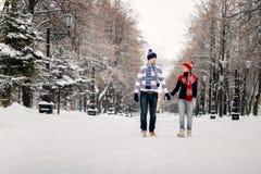Jeunes couples embrassant le jour de l'hiver Image stock