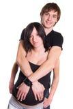Jeunes couples en expectative heureux Images stock