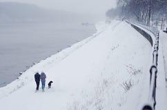 Jeunes couples et chien adolescents marchant près de la rivière en hiver Image stock