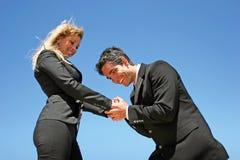 Jeunes couples faisant des affaires Photographie stock libre de droits
