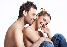 Jeunes couples heureux. images libres de droits