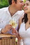 Jeunes couples heureux appréciant des glaces de vin blanc Photos stock